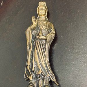 "Kwan yin Antique  brass statue - 2.75"" H"